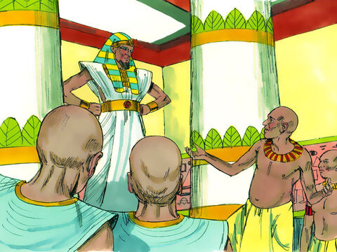 Pharaoh was very disturbed by the dreams, so the next morning he called for all the magicians and wise men of Egypt. When Pharaoh told them his dreams, not one of them could tell him what they meant. – Slide 2