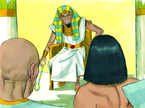 Joseph advised Pharaoh what to do next. 'You should find a wise man and put him in charge of the entire land of Egypt. Supervisors need to be appointed to collect one-fifth of all the crops during the seven good years and store them under guard. That way there will be enough to eat when the seven years of famine come to the land of Egypt.' – Slide 10