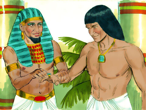 Then Pharaoh removed his signet ring from his hand and placed it on Joseph's finger. He dressed him in fine linen clothing and hung a gold chain around his neck. – Slide 12
