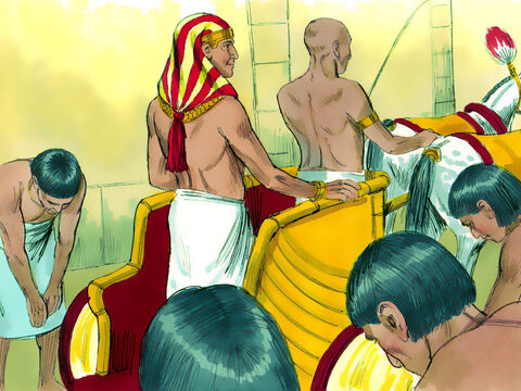 Then he had Joseph ride in the chariot reserved for his second-in-command. And wherever Joseph went, the command was shouted, 'Kneel down!' – Slide 13