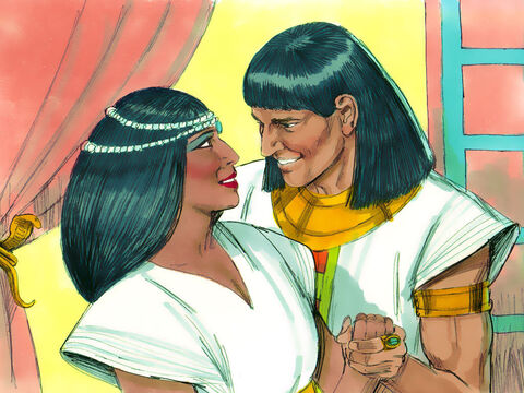 Joseph, now 30 years old, was given a new Egyptian name, Zaphenath-paneah. Pharaoh also gave him a wife, whose name was Asenath. So Joseph took charge of the entire land of Egypt. – Slide 14