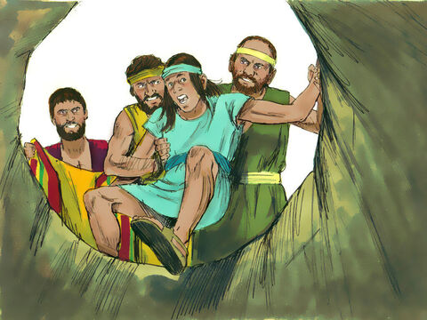 So when Joseph arrived his brothers stripped him of his ornate robe and threw him into an empty cistern. – Slide 11