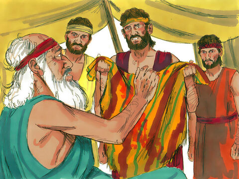 They took the ornate robeback to their father and said, 'We found this. Is it your son's robe?' 'It is my son's robe!' Jacob cried. 'Some ferocious animalhas devoured him.' – Slide 16