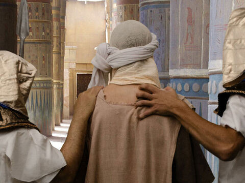 Joseph protested his innocence but no-one would believe a Hebrew slave. He was marched off to Pharoah's prison. – Slide 23