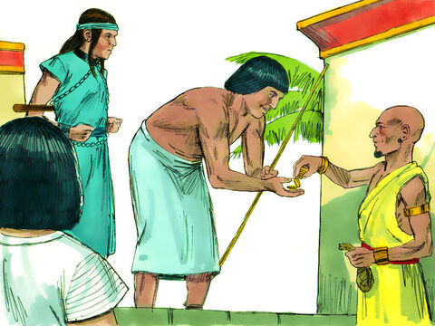 When the Ishmaelite traders arrived in Egypt they sold Joseph as a slave to one of Pharaoh's officials, Potiphar, a captain of the guard. – Slide 1