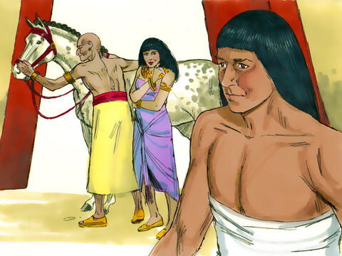 Now Joseph was well-built and handsome. After a while, Potiphar's wife started admiring his looks and physique. She found it hard to control her feelings for him. – Slide 5