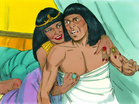 Then one day, when all the servants were out of the house, Potiphar's wife made a grab for him. 'Come to bed with me!' she insisted. – Slide 8