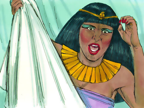 Potiphar's wife was left holding Joseph's cloak. How would she explain what had happened? She had to think fast. – Slide 10