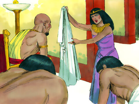 She called her servants. 'Joseph tried to seduce me but I screamed and he ran off. Look, he left his cloak beside me.' She told the same story to Potiphar when he returned home. – Slide 11