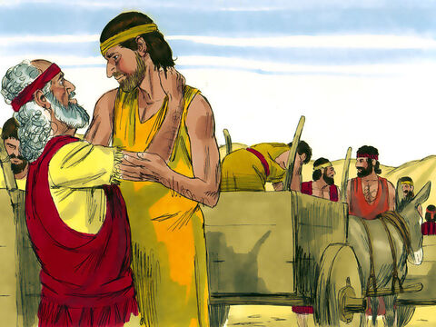 The famine continued to ravage Canaan so Jacob said to his sons, 'Go back and buy us more food.' 'We can only return if Benjamin is with us,' said Judah. 'I personally guarantee his safety and will be responsible for bringing him back.' Very reluctantly Jacob sent Benjamin with them. They packed gifts and also took double the money that was put back into their sacks. – Slide 1