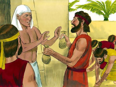 When they arrived Joseph told them to go to his palace to eat with him at mid-day. The terrified brothers were convinced they would be made into slaves. At the palace entrance they explained to the palace manager how they had discovered the money in their sacks and offered it back. 'Relax. Don't be afraid,' he replied. 'Your God, must have put this treasure into your sacks.' He then released Simeon to join them.  – Slide 2