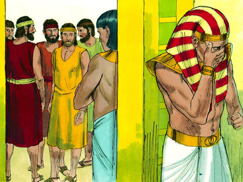 Joseph was so overcome at seeing his younger brother he had to hurry into another room where he broke down and wept. After washing his face he returned. – Slide 4