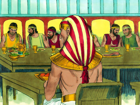 Joseph sat his brothers at the meal table in age order from the oldest to the youngest. Joseph sat at his own table. Benjamin was served five times as much food as the others. So the brothers feasted and drank freely together. – Slide 5