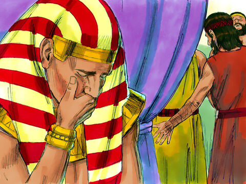 Then he broke down and wept. He wept so loudly the Egyptians could hear him, and reported it to Pharaoh. – Slide 13
