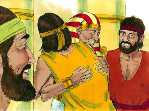 Weeping with joy, he embraced Benjamin. Then Joseph kissed each of his brothers and wept over them. After that the brothers began talking freely with him. – Slide 17