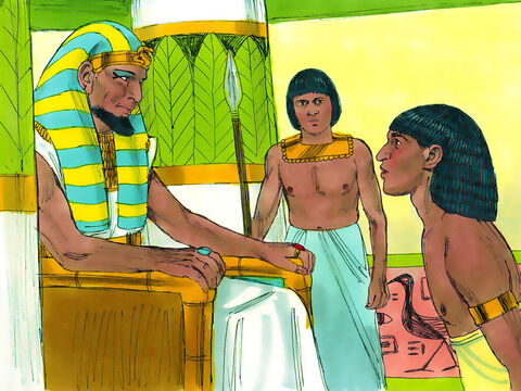 Pharaoh said to Joseph, 'Tell your brothers to hurry back to the land of Canaan and get your father and their families. I will give them the very best land in Egypt, and they will eat from the best that the land produces. Send wagons to bring him here.' – Slide 18