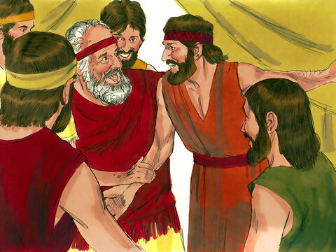 The brothers returned to Jacob. 'Joseph is still alive and he is governor of all the land of Egypt!' they told him. Jacob was stunned and just couldn't believe it.The brothers repeated to Jacob everything Joseph had told them. When Jacob saw the wagons Joseph had sent he exclaimed, 'It must be true! My son Joseph is alive! I must go and see him before I die.' – Slide 19
