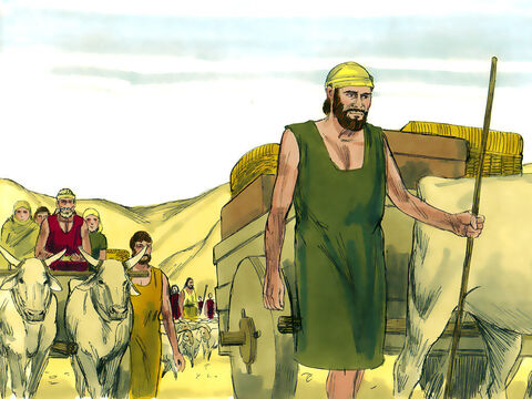 Jacob and his whole family set off for Egypt. On the way God told him, 'Do not be afraid to go down to Egypt, for there I will make your family into a great nation.' – Slide 20