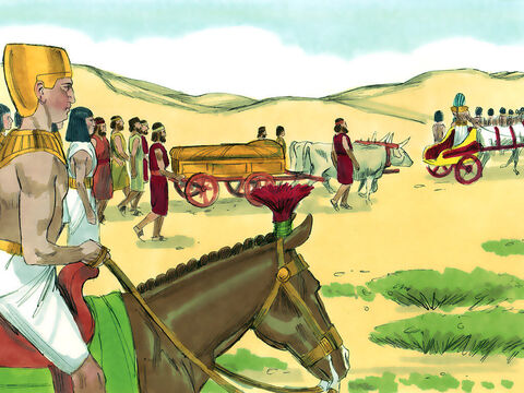 Jacob and his sons settled in Goshen. Jacob gave a blessing to Joseph's sons, Manasseh and Ephraim. Later, when Jacob was close to dying, he called all his sons to him and blessed them. He then breathed his last. Jacob's body was taken back to Canaan and buried in the tomb of his father Abraham just as he had requested. – Slide 22