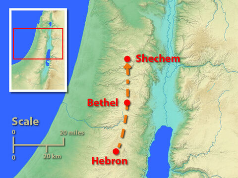 This map shows the most likely route Joseph travelled to find his brothers. – Slide 3