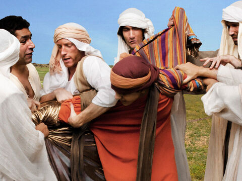 Genesis 37 v 23-24 Joseph's brothers grab him and wrestle off his rich robe. – Slide 9