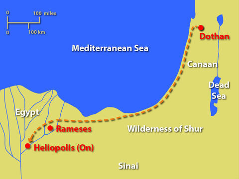 A map showing the most likely route to Egypt Joseph was forced to take. – Slide 17