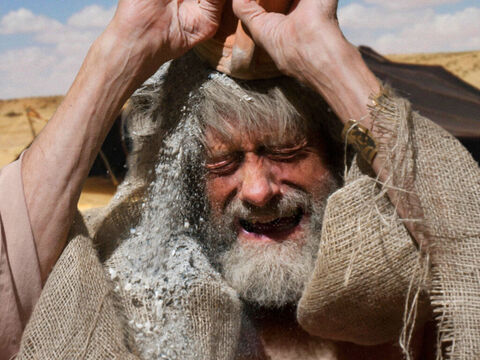 Joseph tears his clothes, puts on sackcloth, and wails deeply. He is beside himself in grief and no-one can comfort him. He says he will mourn the loss of Joseph for the rest of his life. – Slide 23