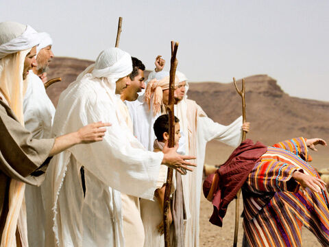 Joseph explains how their sheaves bowed down to his. They are enraged. 'Do you intend to reign over us? Will you actually rule us?' They hate him even more. – Slide 11