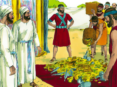 When the Israelites conquered Jericho God gave instructions that no one was to plunder anything or there would be trouble in the camp. Everything made from silver, gold, bronze, or iron was brought to the Lord and put in His treasury. However, unknown to anyone, one man had secretly taken plunder and hidden it. – Slide 1