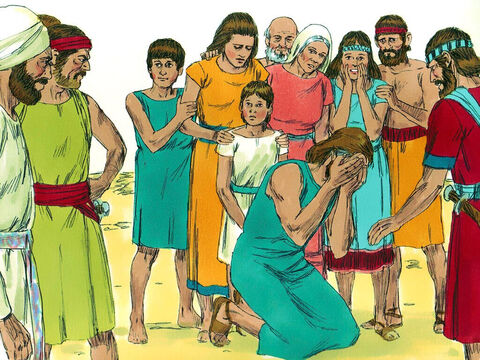 Every member of Zimri's family was brought forward person by person, and Achan was singled out.Joshua told Achan to tell the truth and confess what he had done. – Slide 11