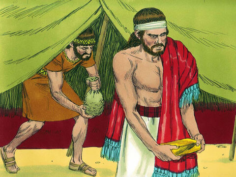Joshua sent men to make a search and they found the stolen goods. They laid them on the ground in the presence of the Lord. – Slide 13