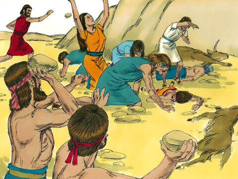 Joshua and the Israelites took Achan, the silver, the robe, the bar of gold, his sons, daughters, cattle, donkeys, sheep, goats, tent, and everything he had. They brought them to the valley of Achor where they stoned them to death. – Slide 14
