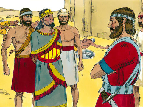 Joshua held out his spear until the battle was won. Not a single enemy survived or escaped.The king of Ai was taken alive and executed. A great heap of stones was placed over his body. – Slide 11