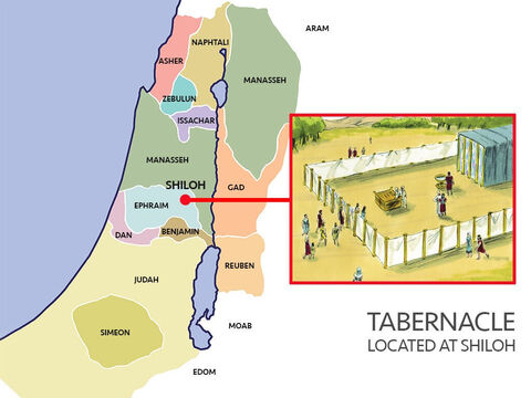 Joshua and the Israelites set up the Tabernacle in a place called Shiloh in the middle of the Promised Land. From here Joshua sent out three men from each of the seven tribes without territory to scout out the land so it could be divided up between them. – Slide 4