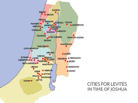 So the Levites were given cities, spread throughout the Promised Land, where they could live and have land for their animals. – Slide 7