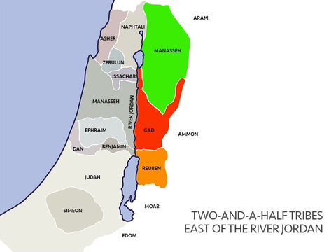 The River Jordan ran north to south through the land. Moses had promised the land to the east of the river Jordan to the tribes of Reuben, Gad and half of the tribe of Manasseh. The other half of the tribe of Manasseh had land to the west of the river Jordan. These tribes on the east had crossed the river Jordan to help the other tribes fight to gain their land. – Slide 10