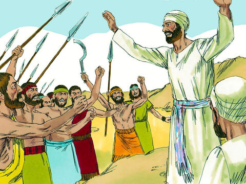 When the tribes on the west of the river saw the altar they were angry and feared the troops from the tribes to the east had set up a rival place of worship. Such was their fury they were ready to go to war against their fellow Jews. – Slide 13