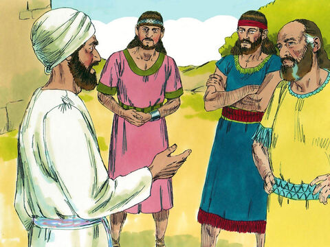 Before attacking, they send a delegation to the eastern tribes. It included Phinehas, the son of Eleazar the High priest and a representative of each of the tribes. 'Why have you built an altar of rebellion against the Lord God,' they asked. 'The one true altar of the Lord is at Shiloh where the Lord lives among us all.' – Slide 14