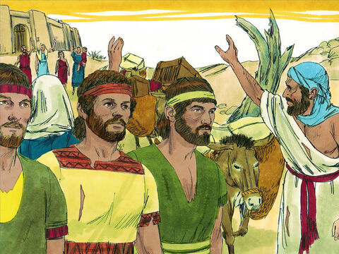 A group of ambassadors were chosen. They loaded their donkeys with weathered saddlebags and old, patched wineskins.They put on worn-out, patched sandals and ragged clothes. And the bread they took with them was dry and mouldy. – Slide 5