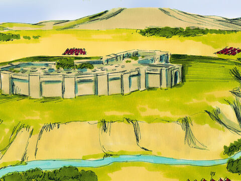 The city gates of Jericho were securely barred and no one went in or out of the city. The Israelites were camped nearby. – Slide 1