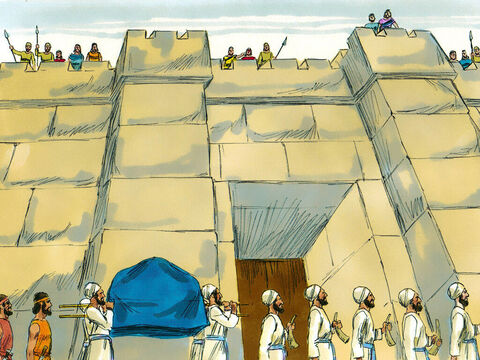 Priests carried the Ark of the Covenant around the city with an armed guard in front and behind it. After one circuit of the city they all returned to the camp. – Slide 5