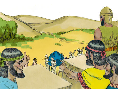 The puzzled people of Jericho watched as the Israelites repeated their circuit around the city walls six days in a row. – Slide 6