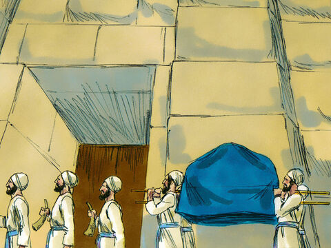 Priests carrying the Ark of the Covenant with an armed guard in front and behind followed them. – Slide 8