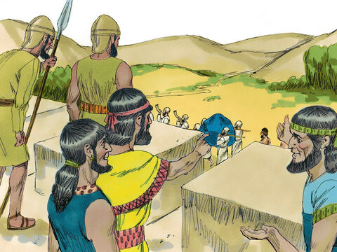 The people of Jericho watched as the priests and army marched around their city seven times in a row. – Slide 9