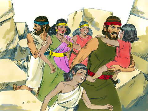 Joshua ordered the two spies to find Rehab's house, marked with a scarlet cord in the window, and led her and her family to safety. From that day on they lived with the Israelites. – Slide 13