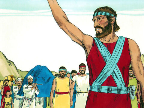 Early in the morning Joshua led the Israelites to the River Jordan where they set up camp. – Slide 1