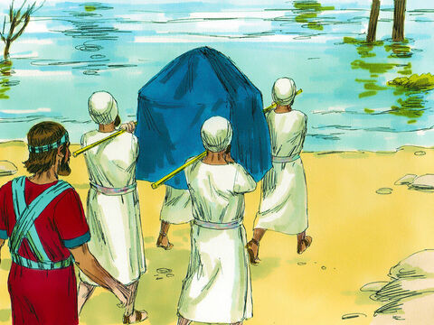 The next day Joshua told the priests to lead off carrying the ark of the covenant towards the River Jordan. The river was in flood and dangerous to cross. God told Joshua to tell the priests when they got to the river bank not to stop but to go and stand in the river. – Slide 3