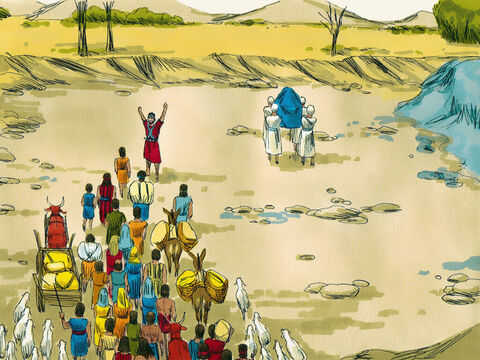As son as the priests' feet entered the water the water from upstream stopped flowing. It stood up in a large heap some distance away at a town called Adam. The priests stood in middle of the river bed on dry ground while the people crossed into the Promised Land. – Slide 4