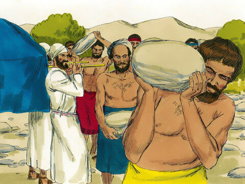 Joshua had given orders for twelve men, one from each tribe, to be chosen. He told these men to gather a large stone each from the dry river bed and carry it to the place where they would set up camp for the night. – Slide 5