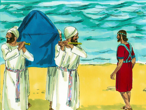About 40,000 people armed for battle hurried across the River Jordan then stood on the far bank and watched. God instructed Joshua, 'Command the priests to come out of the water. No sooner had they done so than the waters flooded downstream again. – Slide 6